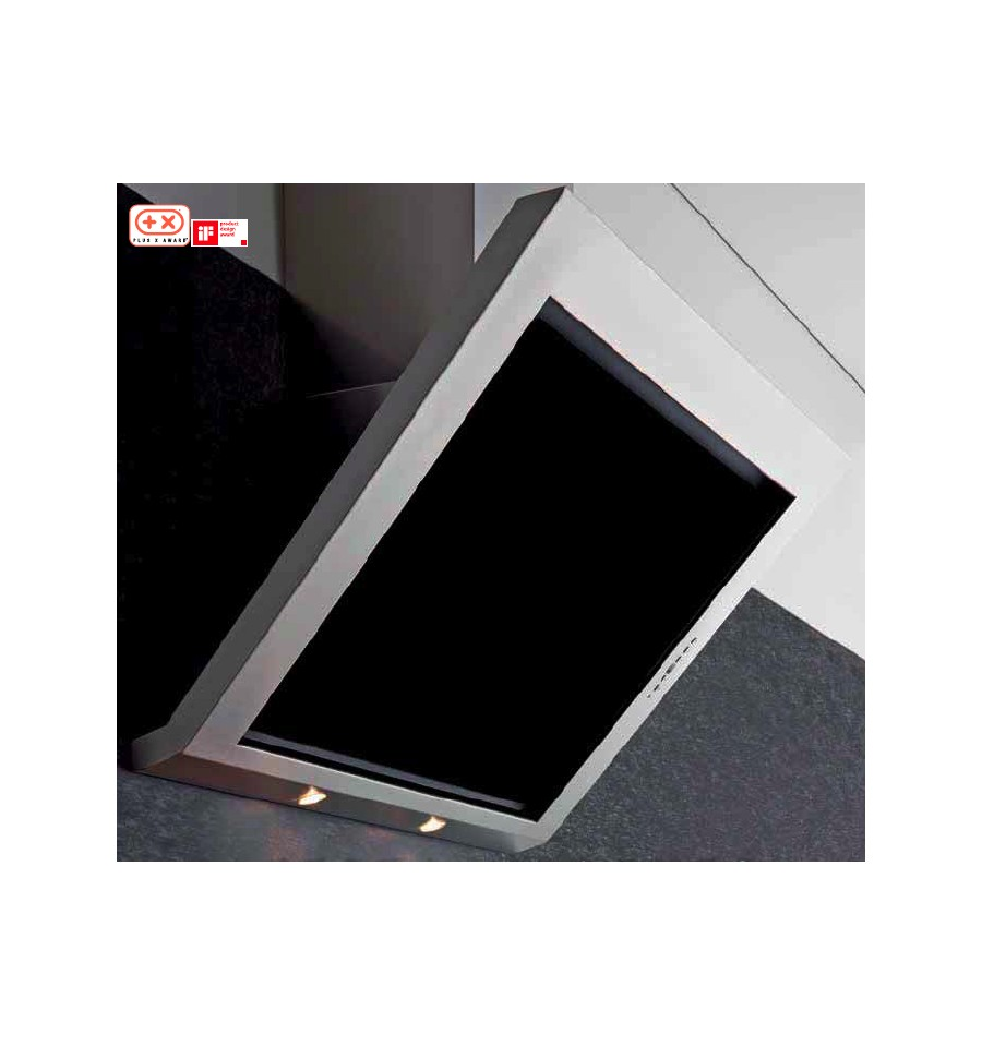 Hotte murale silverline toundra 60cm noir et inox h2060009 for Hotte murale inclinee 60 cm