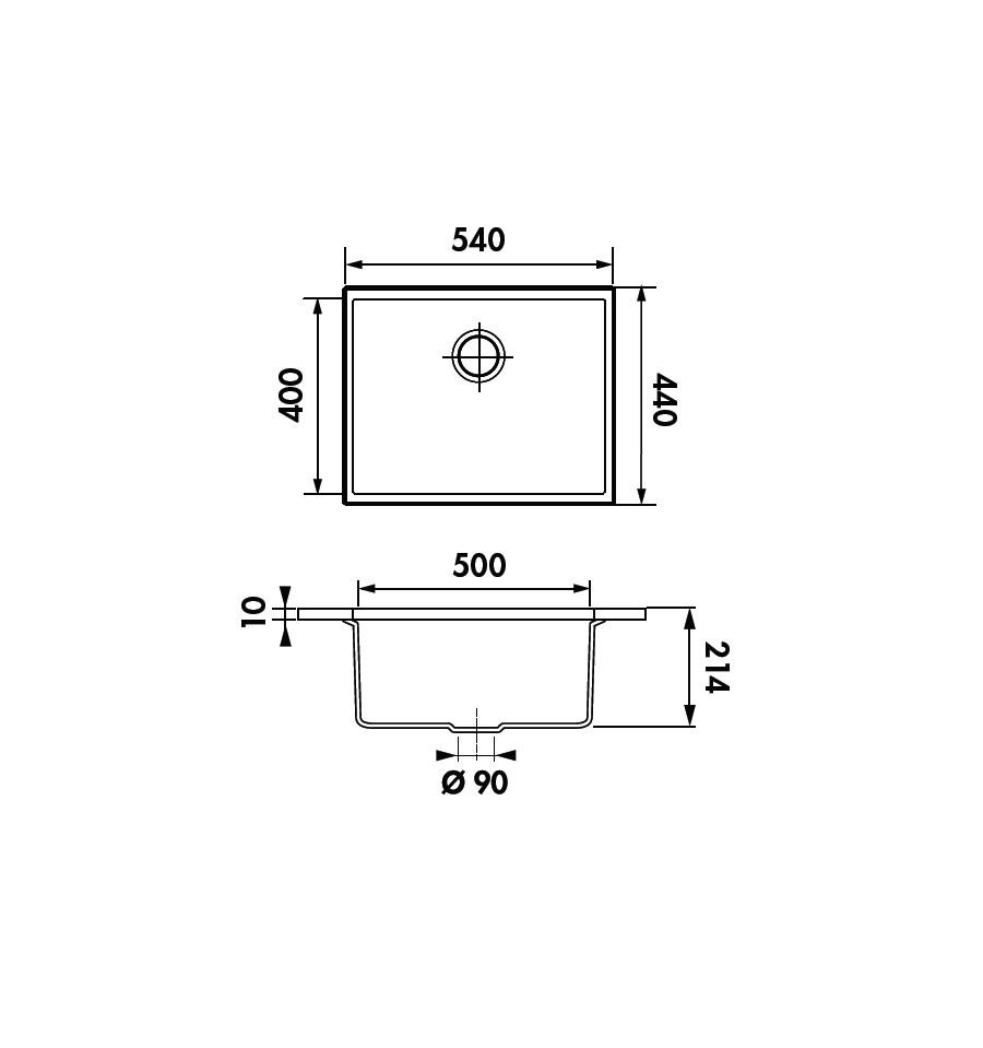 evier luisina 1 cuve luisigranit quadrille gris m tal evsp987022e rvlp. Black Bedroom Furniture Sets. Home Design Ideas