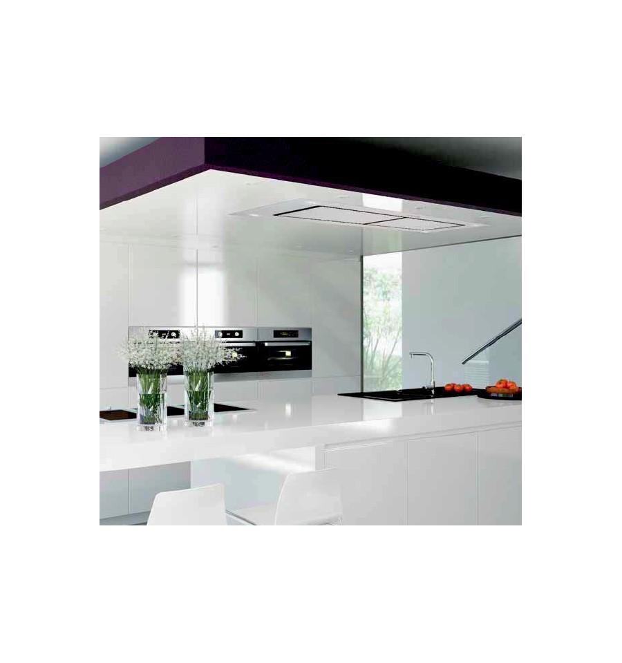 hotte de plafond silverline zora 120cm verre tremp blanc. Black Bedroom Furniture Sets. Home Design Ideas