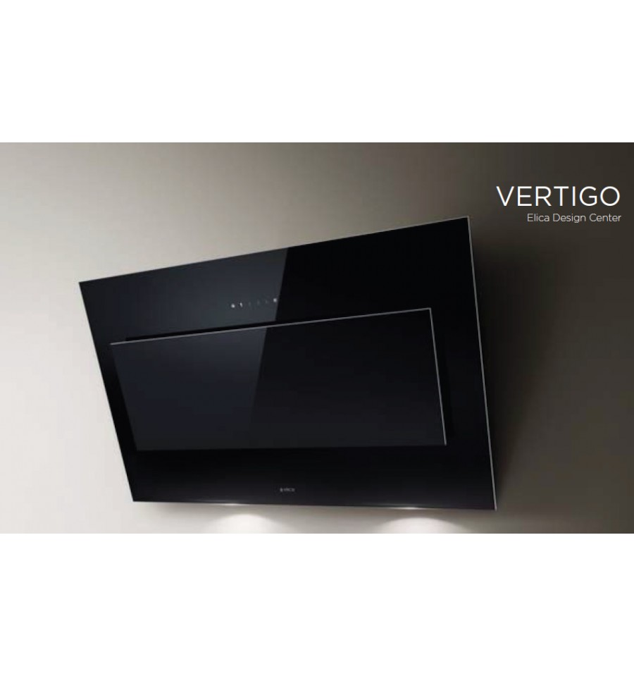 Hotte d corative murale elica vertigo 90cm verre noir for Hotte decorative murale 90cm bassa hd240n noir