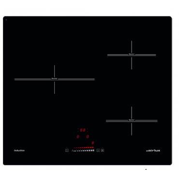TABLE INDUCTION 60CM 3 FOYERS NOIRE AIRLUX ATI63BBKN