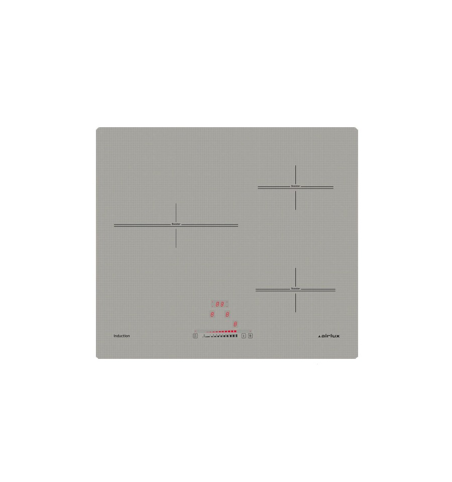 Table induction 60cm 3 foyers airlux ati63bsin silver rvlp - Table induction 3 foyers ...