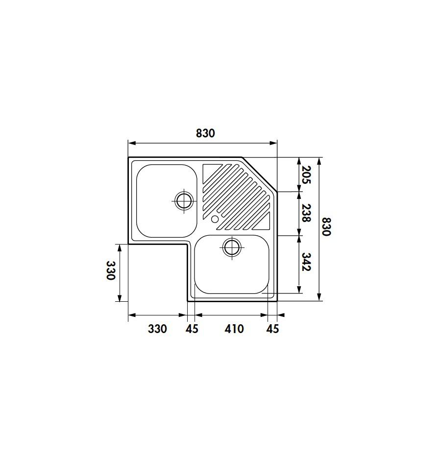 evier d 39 angle encastrable luisina 2 cuves 1 egouttoir luisinox satin ev2431il rvlp. Black Bedroom Furniture Sets. Home Design Ideas